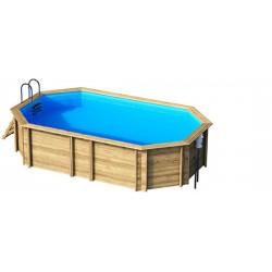 Piscine bois premium bassin 5.90 m x 3.50 m  hors sol, semi-enterrée ou enterrée - 2 hauteurs possibles